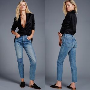 Levi's Free People Icon Wedgie patch raw hem jeans